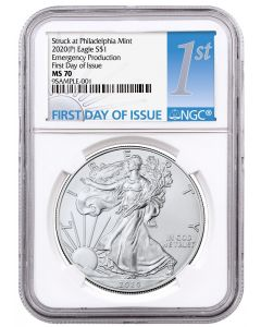 2020 1oz America Eagle .999 Silver Coin (Emergency Production NGC MS70 First Day of Issue Light Blue / Silver Label)