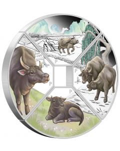 2021 1 oz Tuvalu Year Of The Ox Quadrant .9999 Silver Four-Coin Set
