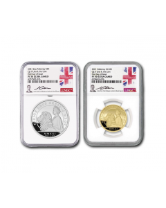 2021 Alderney Una and The Lon Gold and Silver Proof 2 Coin Set (NGC PF70 FDI)