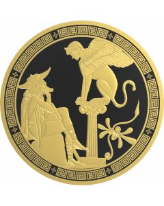 2016 2 oz Niue Greek Myths - Oedipus and Sphinx .999 Silver Proof Coin