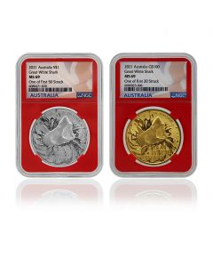 2021 1oz Australia's Most Dangerous - Great White Shark Gold and Silver Set (NGC MS69 First Struck)