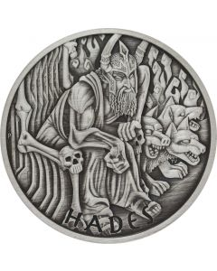 2021 5 oz Tuvalu Gods of Olympus - Hades .9999 Silver Antiqued Coin