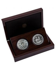 2021 1 oz South Africa Big Five Buffalo & Krugerrand with Buffalo Privy Mark .999 Silver Proof 2 Coin Set