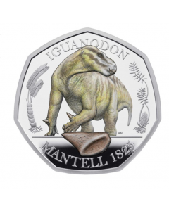 2020 8 gram Great Britain Iguanodon .925 Silver Coloured Proof Coin