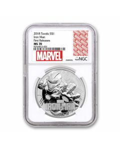 2018 1oz Tuvalu Marvel Series Ironman NGC MS70 First Releases Silver BU Coin