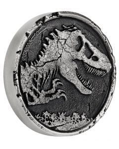 2021 2 oz Niue Jurassic World .999 Silver High Relief Antiqued Cracked Coin