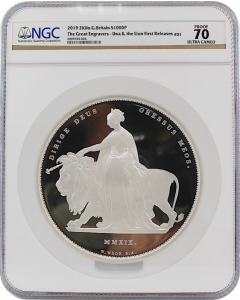 2019 2 Kilo Great Britain The Great Engravers – William Wyon – Una and the Lion 999 Silver Proof Coin (Cert # 4)