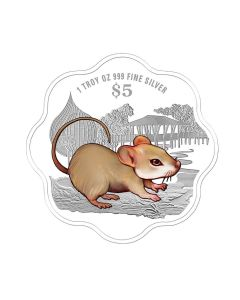 2020 1oz Singapore Lunar Year of the Rat .999 Silver Proof Colour Coin