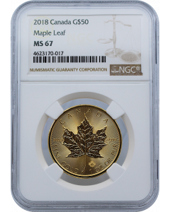 2018 1 oz Canada Maple Leaf .9999 Gold Coin (NGC MS67)