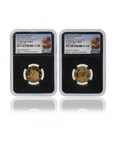 2020 1/4oz Great Britain The 400th Anniversary of the Voyage of the Mayflower .9999 Gold Proof 2pc Set (NGC PF70 First Release)