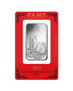 2019 1 oz Pamp Suisse Lunar Year of the Pig .999 Silver Bar (In Assay)