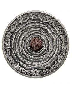 2014 2oz Niue Island VOLCANO series - Real lava inlay Ultra High Relief Dome & Convex shaped .999 Siver Antique Finish Coin