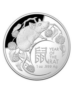 2020 1oz Australia Lunar Year of the Rat .999 Silver Domed Proof Coin