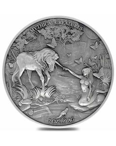 2021 2oz Chad Mythical Creatures Series - Mermaid And Unicorn.999 Silver Antique High Relief Coin
