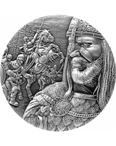 2021 2 oz Republic of Chad Saladin .999 Antiqued Silver Coin