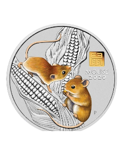 2020 1 kg Australian Lunar Series III Year of the Mouse .9999 Silver Coin With Gold Privy Mark