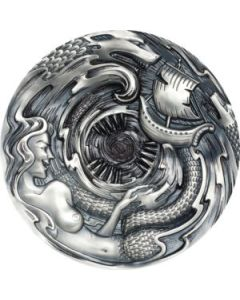2020 3 oz Palau Evil Within Series - Scylla And Charybdis .999 Silver Antiqued Proof Coin