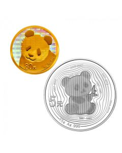 2017 China Panda - 35th Anniversary .999 Gold and Silver Proof Two Coin Set