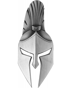 2021 2 oz Fiji Ancient Warriors - Spartan Warrior Mask Shaped 999 Silver Antiqued Coin