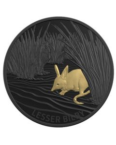 2019 1 oz Echoes of Australian Fauna - Lesser Bilby Nickel Plated Selectively Gold Plated .999 Silver Proof Coin