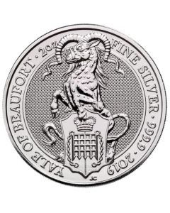 2019 2 oz UK The Queen's Beasts - The Yale of Beaufort .9999 Silver Bullion Coin