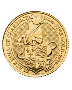 2018 0.25 oz Britain The Queen's Beasts - The Black Bull .999 Gold BU Coin