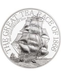 2016 1/2 oz Cook Islands The Great Tea Race Ultra-High Relief .999 Silver Proof Coin