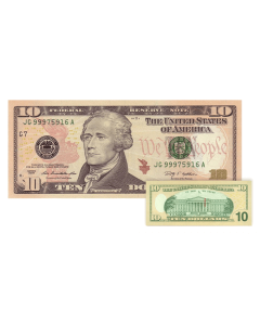 US Dollar $10 Uncut Currency Sheets x 16 (Series 2009)