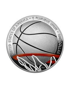 2020 26.73 gram United States Basketball Hall of Fame .999 Silver Colorized Coin