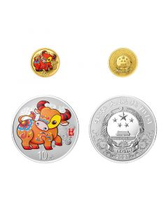 2021 China Lunar Year of Ox .999 Gold and Silver Proof Coloured Coin Set