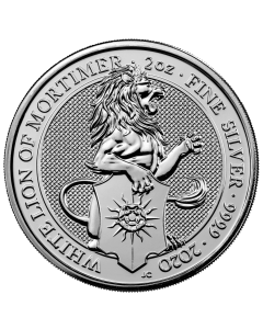 2020 2 oz Great Britain The Queen's Beasts -  The White Lion of Mortimer  .9999 Silver Coin (Spotted)