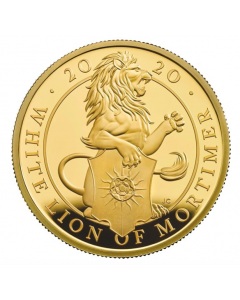 2020 1 oz Great Britain The Queen's Beasts - The White Lion of Mortimer .9999 Gold Proof Coin