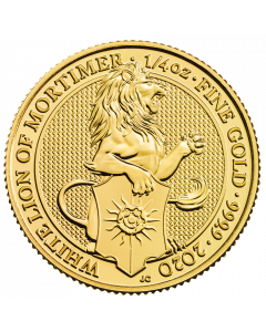 2020 1/4 oz Great Britain The Queen's Beasts -  The White Lion of Mortimer .9999 Gold Coin BU