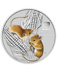 2020 1/2 oz Australian Lunar Series III Year of the Mouse .9999 Silver Coloured Coin