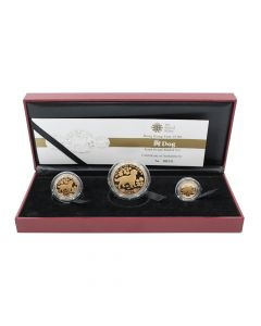 2018 Hong Kong Lunar Year of the Dog Gold Proof 3 Medal Coin Set