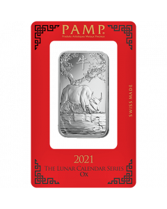 2021 1 oz Pamp Suisse Lunar Year of the Ox .999 Silver Bar