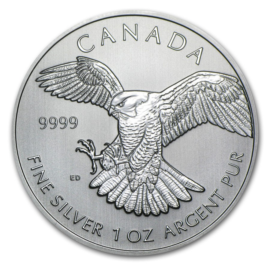 2014 1oz Canadian Peregrine Falcon Birds Of Prey Series