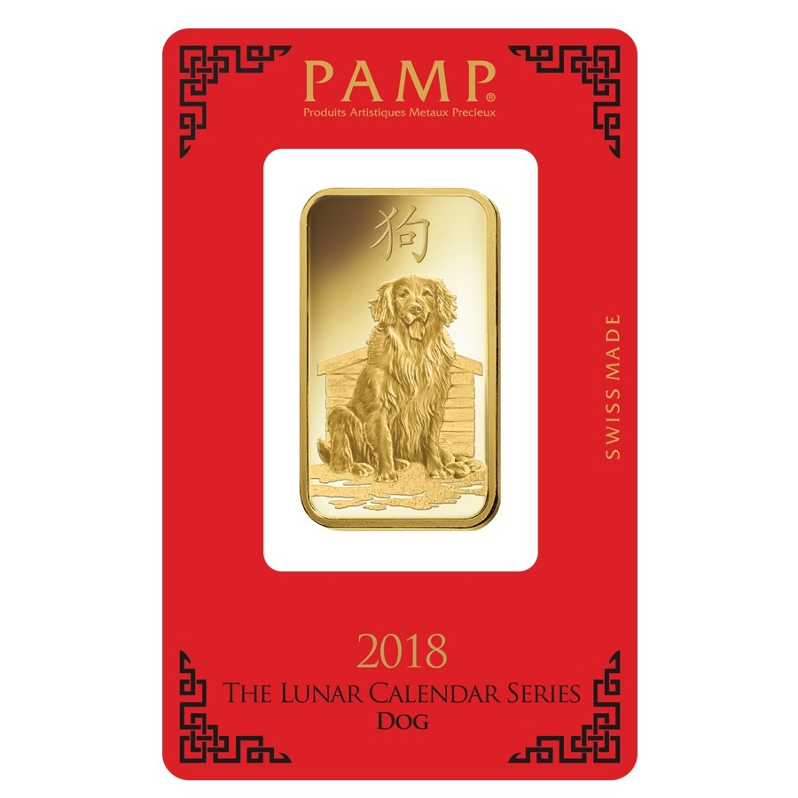 2018 1 Oz Pamp Suisse Lunar Year Of The Dog 9999 Gold Bar