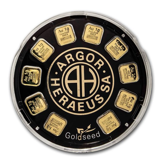 10 grams Argor Heraeus .9999 Goldseed 10 x 1g Gold Bar