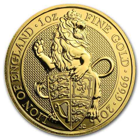 2016 1 oz Britain Queen's Beasts - The Lion of England .9999 Gold Coin