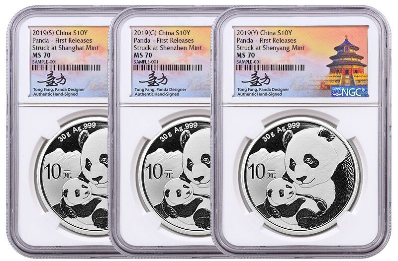 2019 30 Gram Panda 999 Silver 3 Coin Set Ngc Ms70