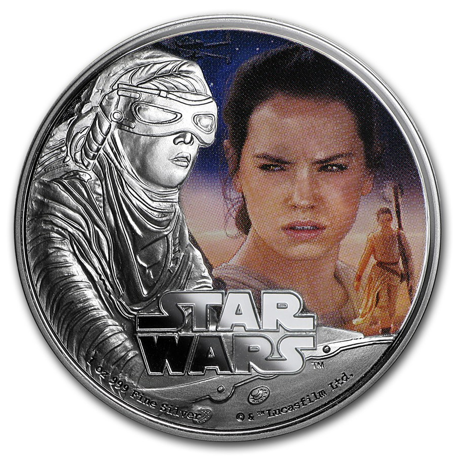 2016 1 Oz Niue Star Wars Rey 999 Silver Proof Coin Lpm