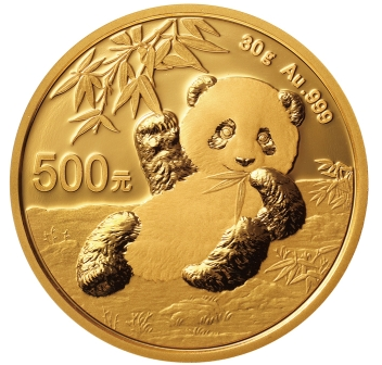 2020 30 gram China Panda 999 Gold Coin BU