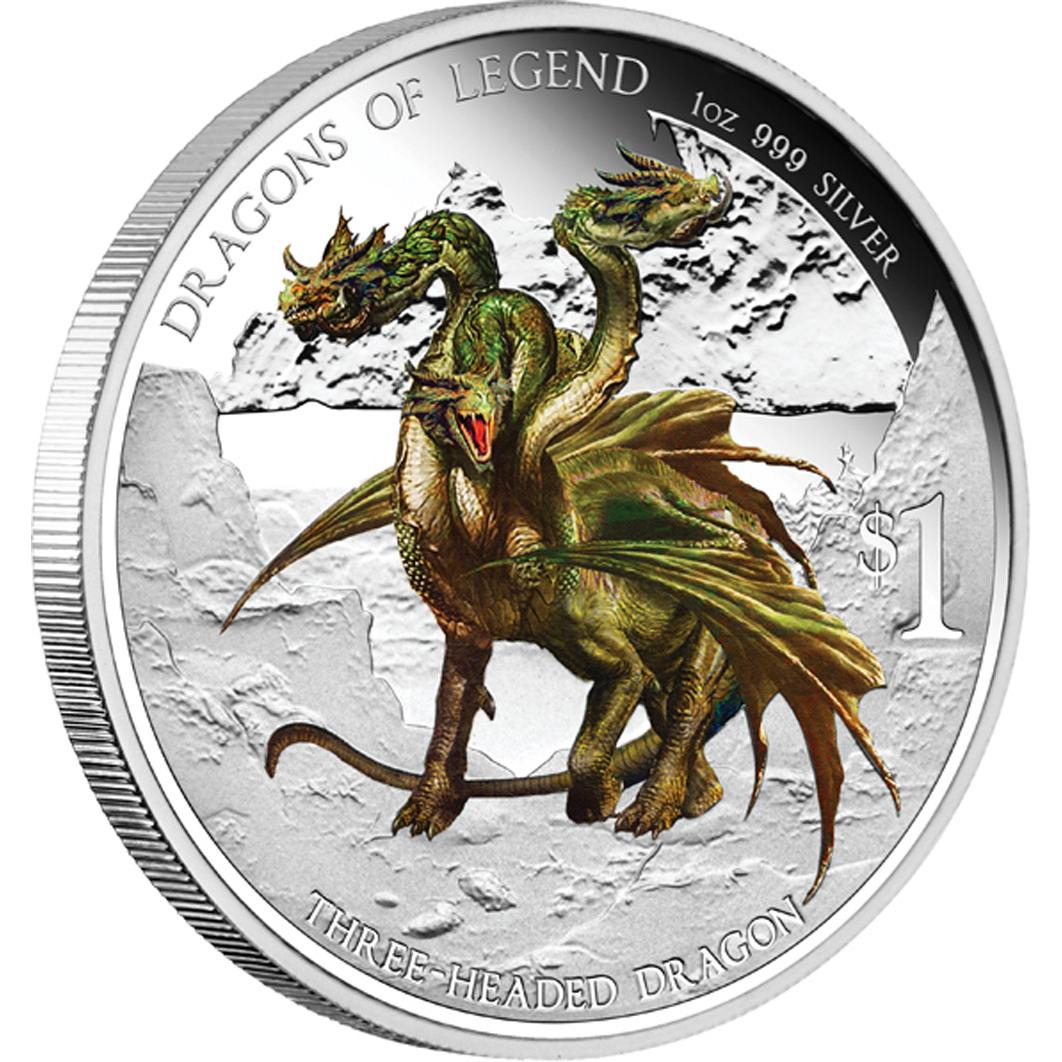 2013 1oz Tuvalu Dragons Of Legend Three Headed Dragon