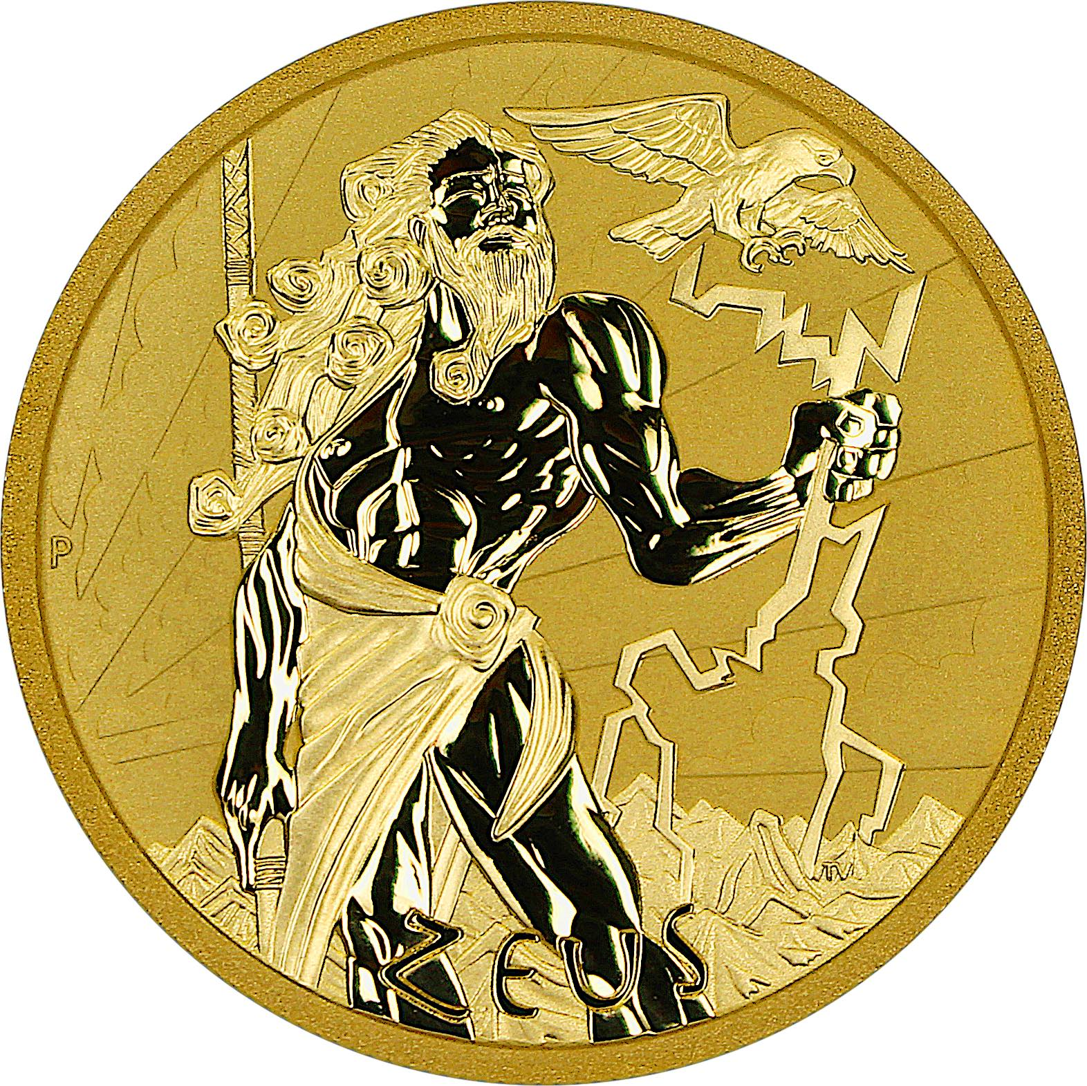 2021 Gods of Olympus - Zeus 1oz Gold & 5 oz Silver Antiqued Coins (Certificate)